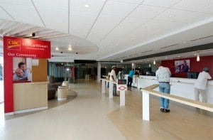 Customers speak of the prompt service at CIBC FirstCaribbean's flagship branch at Warrens.