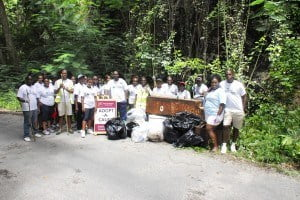 "The staff, drawn from branches at Warrens, Broad Street, Wildey, Sheraton and Sunset Crest, worked on a wet Saturday morning for four hours from 7:30 am. Ms. White said this presented them with another opportunity to give back and have fun while doing so. ""The team was also more sensitised to the impact that dumping can have."""