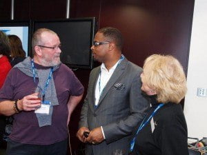 Deputy Premier of Nevis and Minister of Tourism Mark Brantley speak with patrons at The Telegraph's exclusive rum tasting event in London 03rd October 2014
