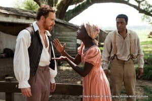 The film tells the story of Solomon Northup (Chiwetel Ejiofor), an African-American violinist who lives with his wife and two children in New York. After accepting an offer to be a musician in Washington, two men drug Solomon and deliver him to a slave pen where he is enslaved for twelve years. Directed by Steve McQueen.