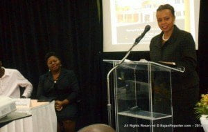 Dr. Jeannine Comma (at podium) -CEO and Director, The Cave Hill School of Business-UWI