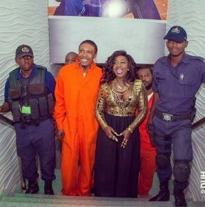 Dancehall artiste, Spice, entered the venue with a throng of male extras dressed in signature orange 'prisoner' outfits and the Vybz Kartel look-alike, much to the surprise of fans. (Photos courtesy of DuhRoadMagazine)