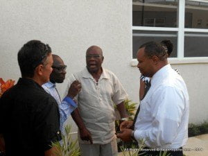 DeLisle Bradshaw (centre) making a strident point as Tony Hoyos (extreme left) and Dwight Sutherland (2nd from left) MP for St George South, along with Santia Bradshaw (partially obscured) MP for St Michael South East and MoF Chris Sinckler avidly paying attention...