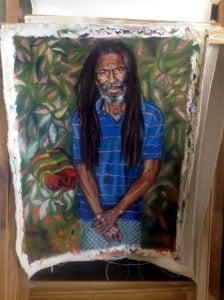 In his current project, Mains will be painting the portraits of cocoa farmers throughout Grenada and giving these paintings back to the farmers. His aim is to create a dialogue through portraiture about the significance of agricultural workers on the island. Agricultural work, along with the worker, is often overlooked. Mains wants to bring awareness to this group of people and elevate them to a level of importance not often associated with manual laborers. Historically, the people represented in paintings are those seen in society as having status and who can afford to have their portrait painted. With this project Mains is initiating a conversation about the social gap that divides who art is made for and who owns art objects.