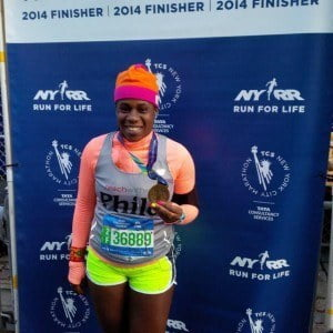 Philomena Robertson with her medal after the 2014 TCS New York City Marathon.