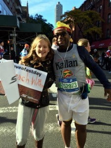 Anderson Simon (and suppporter) just before the start of the 2014 TCS New York City Marathon.