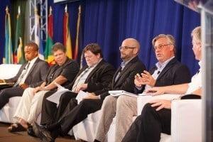 Pictured from left - Mr. Alexis V George, Mrs. Barbara Walker, Mr. Thomas Scheutzlich, Mr. Krishna Desai, Mr. Jannik Vaa, Mr. Jim Reid