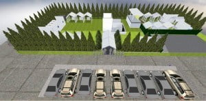 Taking place at the Factory Estate, this is a designer's concept of how the parking and venue will be laid out.
