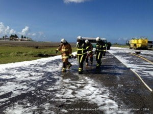 Both SXM Airport and St. Maarten fire departments working together