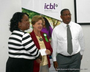 ICBL's vice president, human resources, Glenda Gilkes; president of the Barbados Cancer Society Dr Dorothy Cooke-Johnson and senior vice-president, business development and marketing, Alex Tasker