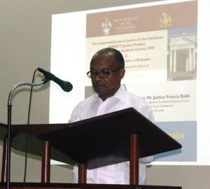 Justice Francis Belle shares his mediation experience as a High Court Judge in the Eastern Caribbean Supreme Court and as Chairman of the Court Connected Mediation Committee for St. Lucia during the mediation lectures hosted by the IMPACT Justice Project and the Supreme Court of Barbados