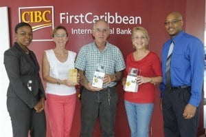Jennifer Fuller, Associate Director, Cards Issuing, CIBC FirstCaribbean (left) with winners (from second left) Irene Noel, Michael Gill, Pamela Brooker and Troy Thomas Business Analyst – Cards with CIBC FirstCaribbean Bank.