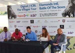 (from left) Alex Tasker Senior Vice president/ Business Development and Marketing ICBL; Randy Howard, Digicel Marketing Executive; Stewart Gill, Secretary of the Barbados Polo Club; Julie Murphy, Diamonds International Marketing Manager; and Andre Bello, Commercial Manager for Virgin Atlantic Airways.