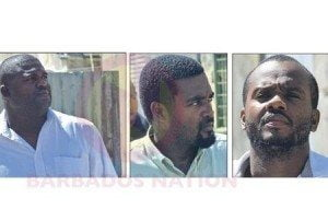 (IMAGE VIA - Daily Nation) The three men were remanded and hustled out of the court in handcuffs to be taken to Dodds Prison, before returning to court next Thursday.