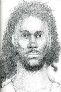 The unknown man is about medium build and of a dark complexion. He has black thick dread locks, large dark brown eyes, small pointed ears, and small lips.