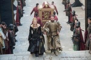 Lena Headey as Cersei Lannister and Ian Beattie as Meryn Trant – photo Macall B. Polay/HBO