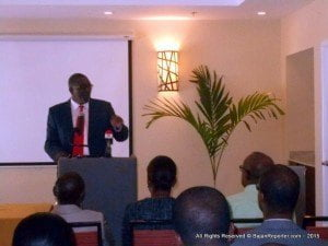 """Parliamentary Secretary in the Ministry of Education, Science, Technology and Innovation, Senator Harcourt Husbands, addressing the launch at Courtyard by Marriott, Garrison Historic Area, Hastings, Christ Church, acknowledged that the Ministry was """"excited at what the consultancy will offer""""."""