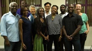 From Left, Back Row: David Greene (Floor Member), Penny Hynam (Membership Officer), Mahmood Patel (1st VP), David Bourne (Asst. Sec/Treas.), Andrea Allan (Floor Member). From Left, Front Row: Louis Parris (Treasurer), Ramona Grandison (PRO), Andrea King (Secretary), Lynette Eastmond (President), Carlos Barrow (2nd VP).  (Photo Credit: Jason Russell)