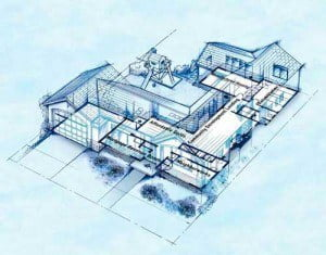 Computer Assisted Drawings (CAD) blueprints of a property