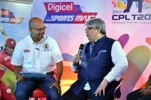 CPL St. Kitts and Nevis franchise owner, Mr Uday Nayak, in conversation with Digicel SportsMax presenter, Lance Whittaker, following last Thursday's CPL 2015 Draft that was held in Kingston, Jamaica