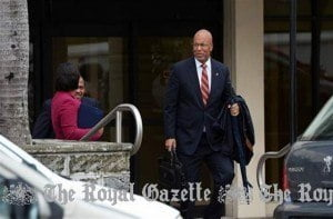 Bermuda's Finance Minister E.T. Bob Richards arriving at the Sessions House to deliver the 2015-2016 Budget statement