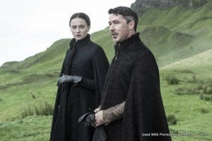 Sophie Turner as Sansa Stark and Aidan Gillen as Littlefinger – photo Helen Sloan/HBO
