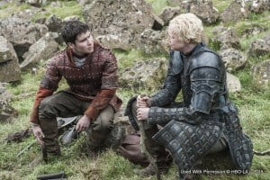'Game of Thrones: A Day in the Life' airs on February 8th in the Caribbean, simultaneously with the United States; Daniel Portman as Podrick Payne and Gwendoline Christie as Brienne of Tarth – photo Helen Sloan /HBO