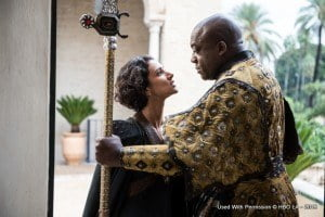 This announcement follows the launch of the official trailer and exclusive photos from the upcoming season on its Facebook page last Friday. Indira Varma as Ellaria Sand and Deobia Opaeri as Areo Hotah – Image: Macall B. Polay/HBO
