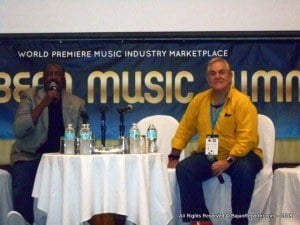 Mathew Knowles (left) does Q&A with audience, while Ted Cohen, Managing Partner of TAG Strategic selects the next query from the large crowd