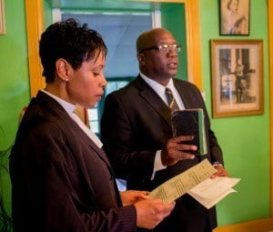 Dr. Timothy Harris being sworn in as Prime Minister by Resident Judge Marlene Carter