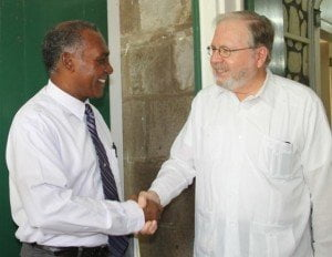 Premier of Nevis Vance Amory with Chief of the OAS Electoral Observer Mission, His Excellency Frank Almaguer