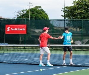 Two International Under 18 players practice at the Tennis Center