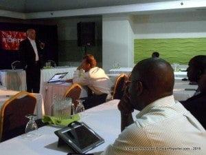 Fortinet facilitator Gilberto Perez presenting to IT Administrators