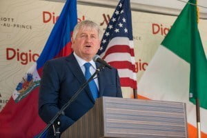 Digicel Chairman and Founder, Denis O'Brien, speaks at the opening of the Marriott Port-au-Prince Hotel