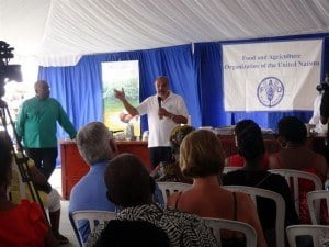 """FAO's Caribbean Coordinator, Dr Deep Ford highlights the benefits of using cassava for food use at the FAO-sponsored """"Cooking with Cassava"""" Demonstrations at Agrofest 2015"""
