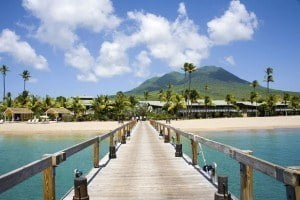 "This photograph, of the Four Seasons Resort with Nevis Peak in the backdrop, was taken by Peter Phipp and accompanied the Sunday Times article with the caption ""Nevis remains a laid-back West Indian gem"""