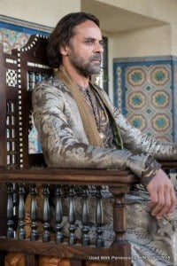 New cast members for the fifth season include Jonathan Pryce (the High Sparrow), Alexander Siddig (Doran Martell), DeObia Oparei (Areo Hotah), Keisha Castle-Hughes (Obara Sand), Rosabell Laurenti Sellers (Tyene Sand), Jessica Henwick (Nym Sand), Nell Tiger Free (Myrcella Baratheon) and Toby Sebastian (Trystane Martell). Alexander Siddig as Doran Martell – photo Macall B. Polay/HBO