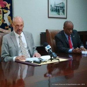 Ambassador Mikael Barfod addresses journalists as Dr Stephen Boyce (EU Procurements Division) takes notes