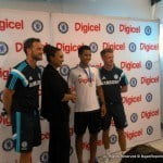 Jordan Amory poses with Digicel's Commercial Operations Manager, Tanya Menzies-Beckford and the Chelsea coaches