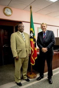 Prime Minister of St. Kitts and Nevis, Dr. The Honourable Timothy Harris (left) and His Excellency Ross William Tysoe, AO, High Commissioner of the Commonwealth of Australia.