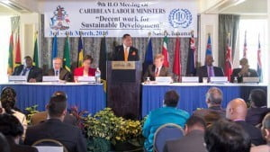 Perry Christie, Bahamian Prime Minister delivering the Feature Address at the 9th ILO Meeting of Caribbean Labour Ministers at the British Colonial Hilton. Also pictured are (L to R): Robert Farquharson, Director of Labour, Department of Labour, the Bahamas; Giovanni di Cola, Director, ILO DWT and Office for the Caribbean; Nicole Campbell, Permanent Secretary, Ministry of Labour and National Insurance, the Bahamas; Guy Ryder, Director General, ILO; Shane Gibson, Minister of Labour and National Insurance and Minister of the Public Service; and Dr. Douglas Slater, Assistant Secretary General, Human and Social Development, Caribbean Community (CARICOM) Secretariat