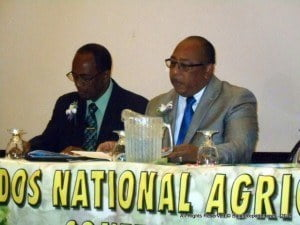 Chief Agricultural Officer, Barton Clarke with Agriculture Minister, Dr. David Estwick  at the opening session of Monday's National Agricultural Conference at the Savannah Hotel