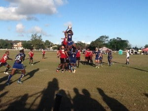 After the break, the Trinidadians took it up a gear, determined to seal their victory and humiliate their opponents. Some truly earthshaking tackles and hits ensued, with both teams making several changes during the first 12 minutes of the second half. Refreshed, the men in red began to score almost at will, as the Bajan defence crumbled. Tries were scored by Anderson Joseph (11), Joseph Quashie (12), two more from Jessie Richards (6) and one from Shakir Flemming (24) in the dying minutes of the game.