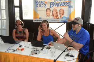 Hosts of Ottawa's Majic 100.3 FM, Trisha, Angie and Stuntman Stu, keeping listeners excited about Barbados during their live broadcasts as a part of the 30th CHUM FM Breakfast in Barbados promotion.