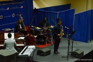 The U.S. Embassy presented the quartet in this series of public concerts to underscore the excellence and diversity of American music and as well highlight Jazz Appreciation Month. The Quartet's Eastern Caribbean tour also included performances in St. Lucia, Antigua, and Dominica.