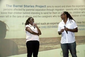 Lisa Harewood speaking at the launch of her Barrel Stories Project