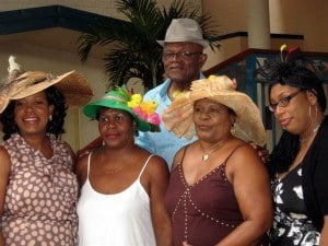 BARP President Ed Bushell poses with NISE's Kim Tudor (extreme left) and other Easter hat ladies