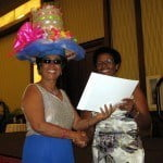 pansy Griffith receiving her prize from Mrs Bushell