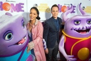 HOME TIME: Rihanna stars alongside award-winning The Big Bang Theory actor Jim Parsons (right) in Home (IMAGE VIA: Voice Online UK)