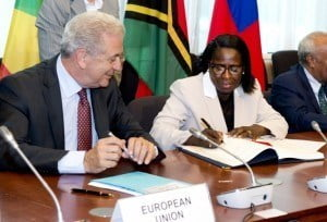 (To the Right) Grenada's Minister of Foreign Affairs, Mrs. Clarice Modeste-Curwen, while on immediate Left is  Dimitrios Avramopoulos, Member of the European Commission